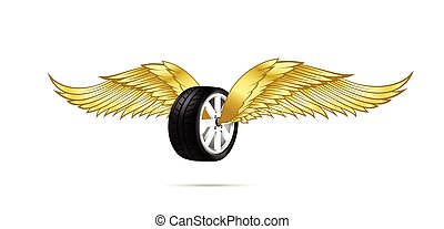 Car wheel and tire with flying pair of wings for logo and emblem design vector illustration eps10