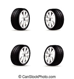Collection of car wheels and racing tire isolated on white...