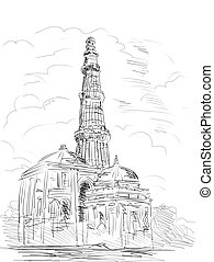 Qutub Minara tower Delhi India - hand drawn illustration of...