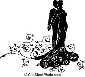 Abstract Bride and Groom Wedding Silhouette - A bride and...