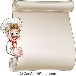 Cartoon Chef Menu Scroll - Cartoon chef or baker character...