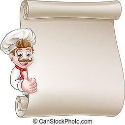 Cartoon Chef Menu Scroll - Cartoon chef or baker character...