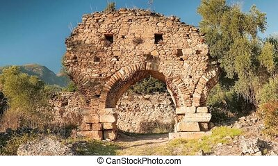 Zooming of ancient archs in Nysa, Sultanhisar, Turkey. 4k. -...
