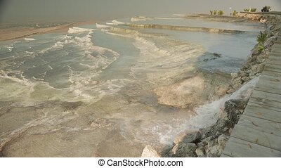Pamukkale mineral hot springs with calcium terraces, Turkey....