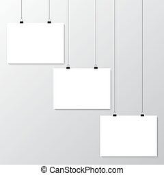 Grey wall with mock up - Image vector white poster hanging...