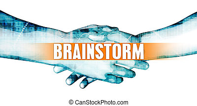 Brainstorm Concept with Businessmen Handshake on White...