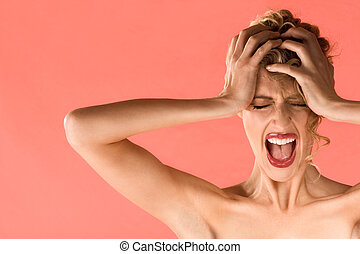 Screaming blond beautiful woman with shut eyes - Portrait of...