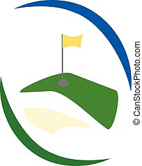 green golf field logo with yellow flag