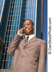 Businessman doing business outside the office - Businessman...