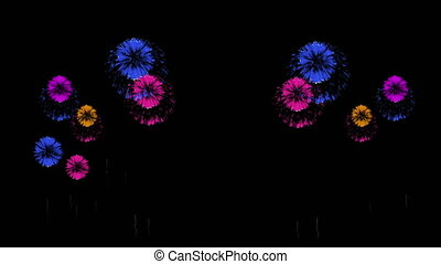 3D Render 4K. Computer Graphic. Multiple Fireworks. Sharp Vibrant Clean Firework Display. Ver. 45