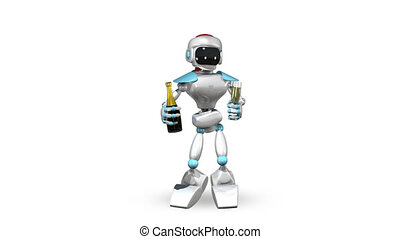 Animated Dancing Robot with Champagne with alpha channel...