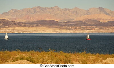 Sailboats Ride Wind Lake Mead Recreation Area Boaters Sail -...