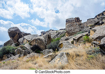 Rock in Gobustan, Azerbaijan - Rocks and landscape in...