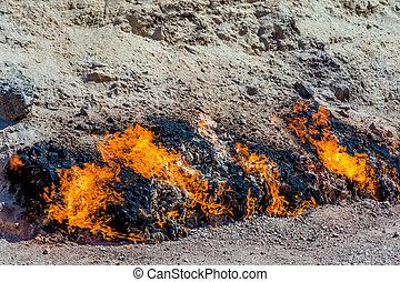 Flaming mountain, Baku, Azerbaijan - Burning rocks at...