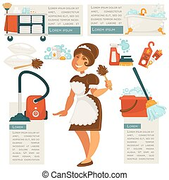Vector housemaid and cleaning supplies.