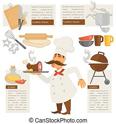 Vector cook and kitchen symbols. - Vector set with cook and...
