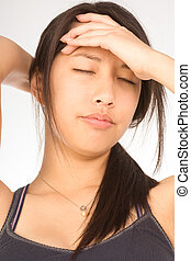 Young attractive woman suffering from headache - Young...