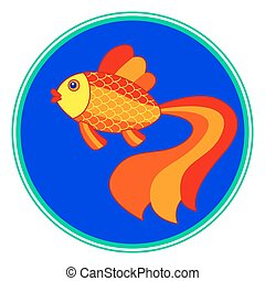 Gold fish on round window - Illustration of the cartoon gold...