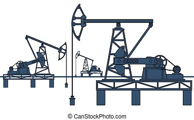 Oil pumpjack refinery - Industrial illustration with the oil...