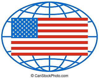 USA flag on globe - Illustration of the United States flag...