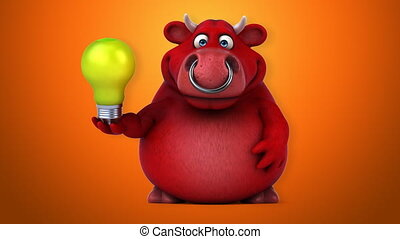 Animated bull with idea lightbulb  - 3D