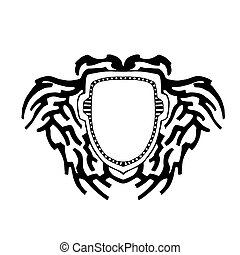 The shield as a background for the logo and text. Vector...