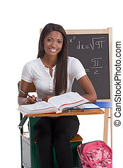 Black college student woman studying math exam - High school...