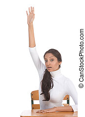 ethnic Indian schoolgirl raised hand in class - High school...
