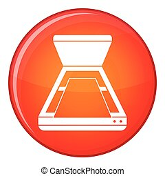 Open scanner icon, flat style - Open scanner icon in red...