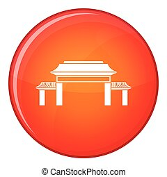 Pagoda icon, flat style - Pagoda icon in red circle isolated...