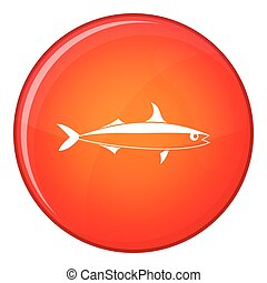 Fish icon, flat style - Fish icon in red circle isolated on...