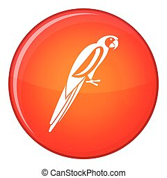 Parrot icon, flat style - Parrot icon in red circle isolated...