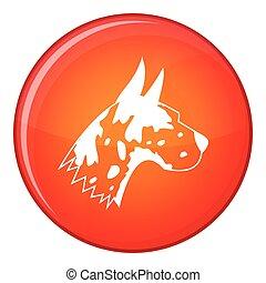 Great dane dog icon, flat style