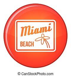 Miami beach icon, flat style - Miami beach icon in red...