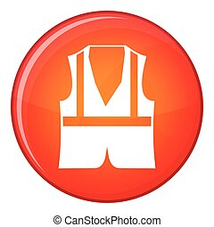 Vest icon, flat style - Vest icon in red circle isolated on...