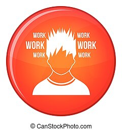 Man and work words icon, flat style