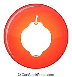 Quince fruit icon, flat style - Quince fruit icon in red...