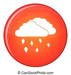 Clouds and hail icon, flat style - Clouds and hail icon in...