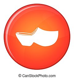 Clogs icon, flat style - Clogs icon in red circle isolated...