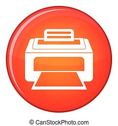 Modern laser printer icon, flat style - Modern laser printer...