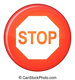 Stop sign icon, flat style - Stop sign icon in red circle...