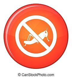 No locust sign icon, flat style - No locust sign icon in red...