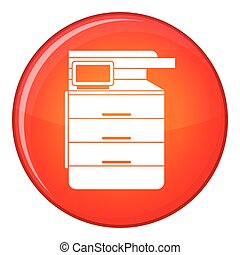 Multipurpose device, fax, copier and scanner icon in red...
