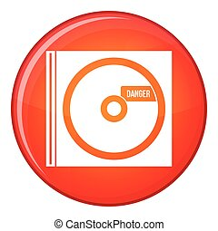 CD with danger lettering icon, flat style - CD with danger...