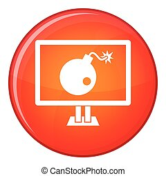 Bomb on computer monitor icon, flat style - Bomb on computer...