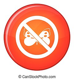 No butterfly sign icon, flat style - No butterfly sign icon...