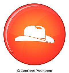 Cowboy hat icon, flat style - Cowboy hat icon in red circle...