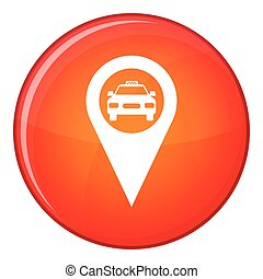 Geo taxi icon, flat style - Geo taxi icon in red circle...