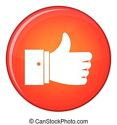 Thumb up gesture icon, flat style - Thumb up gesture icon in...