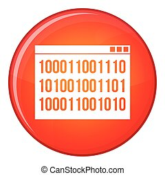 Binary code icon, flat style - Binary code icon in red...